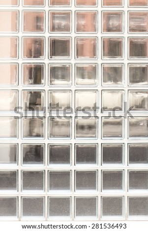 glass block wall background - abstract transparent surface - stock photo