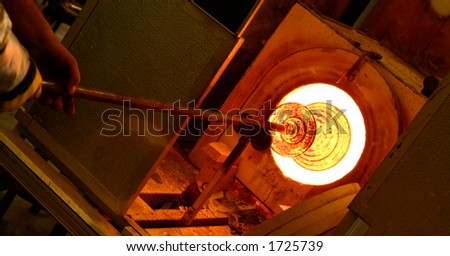 Glass blowing furnace - stock photo