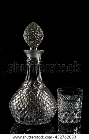 glass bottle and glass - stock photo