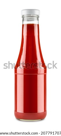 glass bottle of tomato ketchup - stock photo