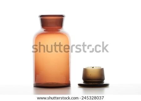Glass bottle open - stock photo