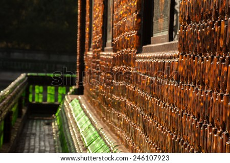 Glass bottle temple Khunhan Thailand Asian temples buildings and culture - stock photo