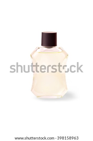 glass bottle with a man's cologne on white background - stock photo