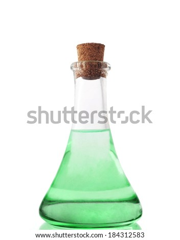 glass bottle with green liuqid - stock photo