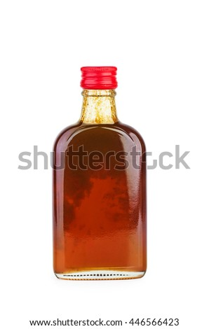 Glass bottle with sea-buckthorn sirup isolated on white background - stock photo