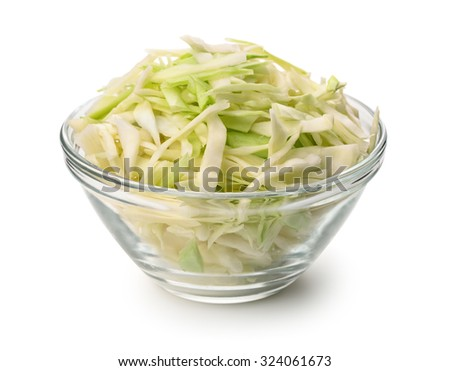 Glass bowl of fresh shredded cabbage isolated on white - stock photo