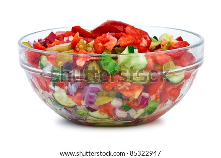 Glass bowl with vegetable salad  isolated on the white background - stock photo