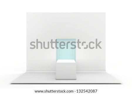 glass box on a gray background - stock photo