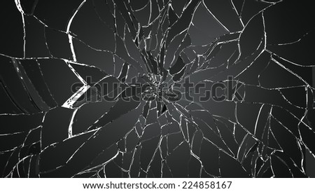 Glass breaking pieces isolated on white. Large resolution - stock photo