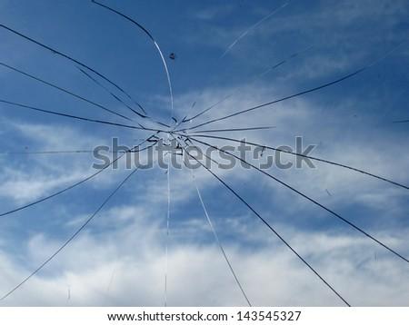 Glass broken cracks splinters - stock photo