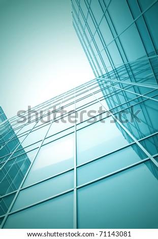 glass building skyscraper, perspective view, night scene - stock photo