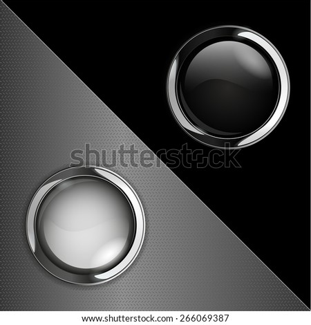 Glass buttons on abstract background. Black and white  web icon with metallic frame. Raster version - stock photo