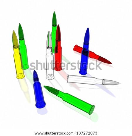 Glass cartridges for machine gun - stock photo