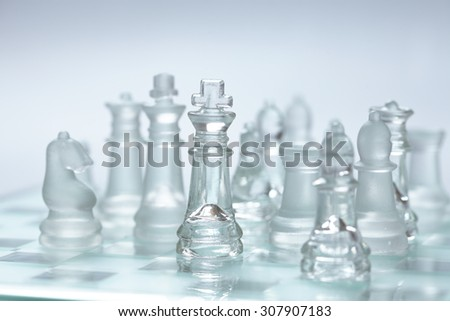 glass chess - stock photo