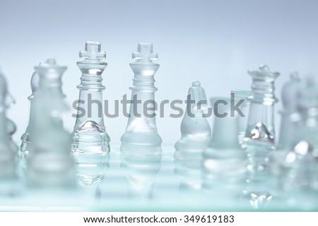glass chess - stock photo