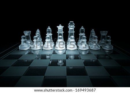 Glass chess board - stock photo