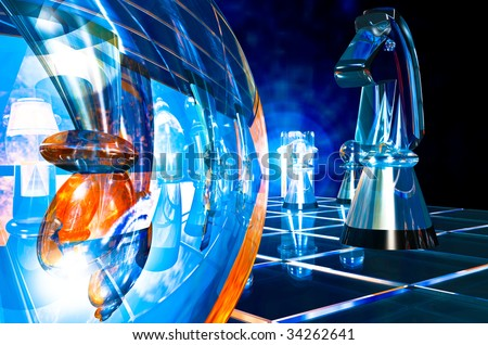 Glass chess piece Knight, floats across the game board to attack the Bishop, wide angle illustration - stock photo