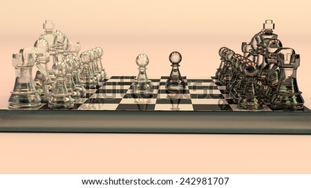 glass chess set pawns move - stock photo