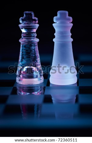 glass chessboard to stand for fair competition - stock photo