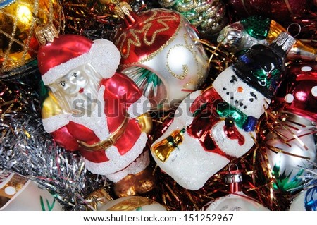 Glass Christmas tree decorations reading for hanging in tree. - stock photo