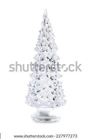 glass Christmas tree Isolated on white background - stock photo