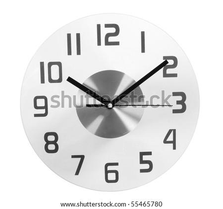 Glass Clock. Isolated - stock photo