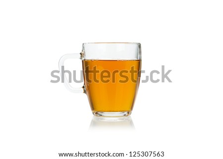 Glass collection. Cup of hot green tea isolated on white background - stock photo