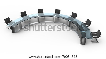 Glass conference table with business chairs. Isolated white background. - stock photo