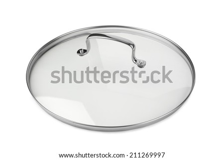 Glass cover pan isolated on white background - stock photo