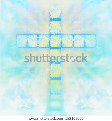 glass cross in sky - stock photo