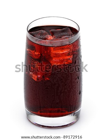 glass cup filled with fresh tasty sangria on white background - stock photo