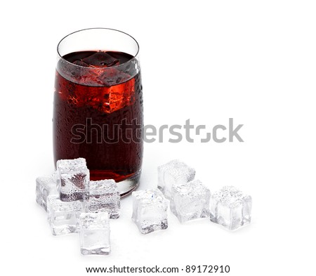 glass cup filled with fresh tasty sangria with ice - stock photo