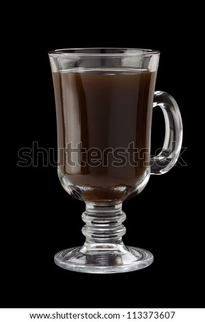 glass cup of coffee isolated on black background - stock photo