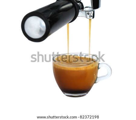 Glass cup of freshly brewed strong coffee pouring   from espresso machine isolated on white background - stock photo