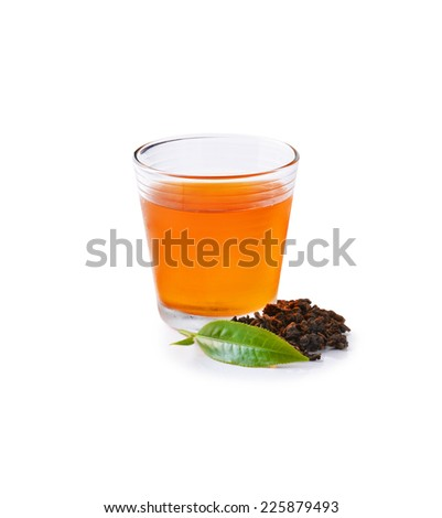 Glass Cup Tea with green leaves, Isolated on White Background - stock photo