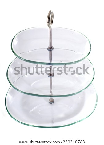 glass dish in front of white background - stock photo