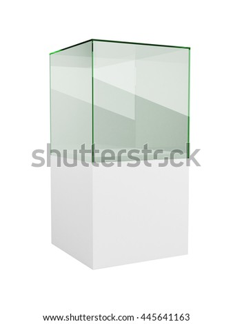 Glass display cabinet isolated on white background. 3D rendering of the empty exhibition or boutique display glass cube. - stock photo