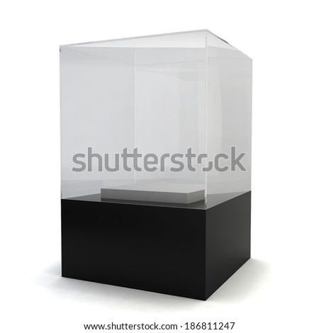 Glass display. 3d image isolated on white background  - stock photo