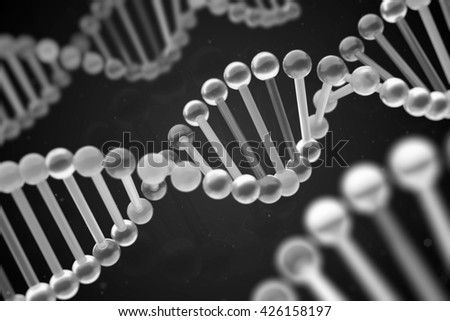 glass dna structure 3d rendering - stock photo