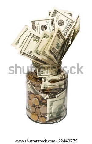 Glass; dollars; coins - stock photo