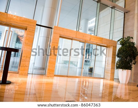 glass door entrance to business conference center . - stock photo