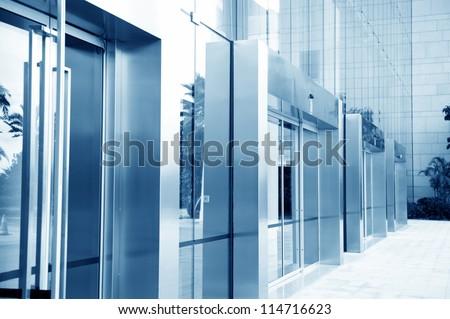 glass door of the office building. - stock photo