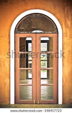 glass door vintage - stock photo