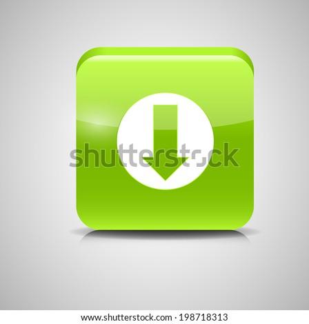Glass Download Button Icon  Illustration. - stock photo