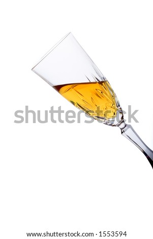 Glass filled with white wine against white background (clipping path included) - stock photo