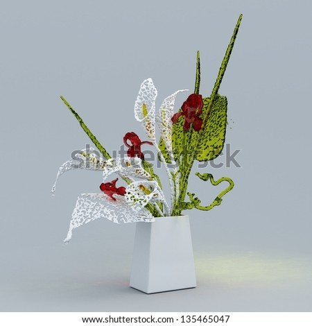 Glass flowers in vase - stock photo