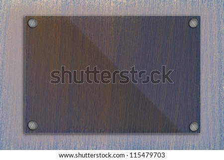 Glass frame on old wooden wall. - stock photo