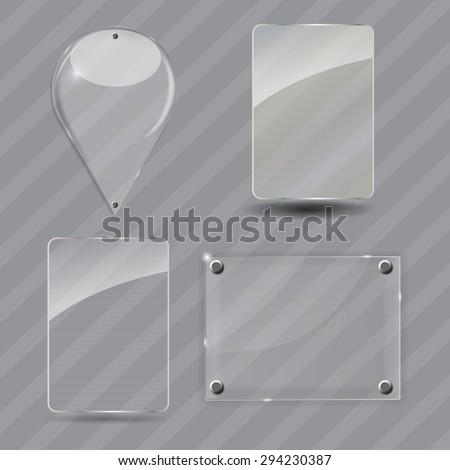 Glass Frame Set.  Illustration.  - stock photo