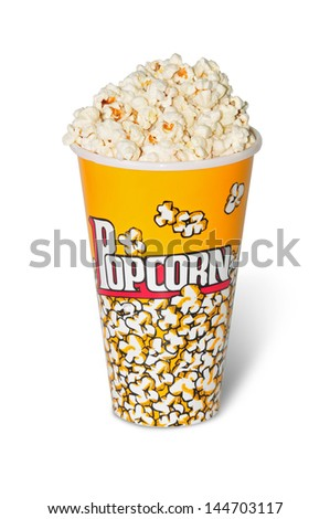 glass full with popcorn of corn - stock photo