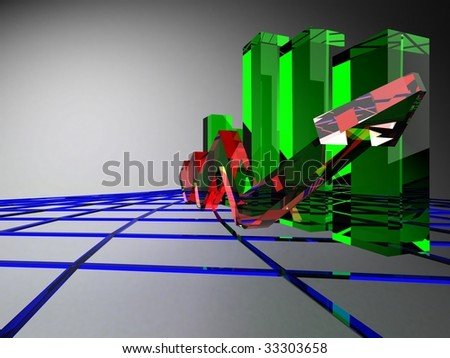 glass graph - stock photo